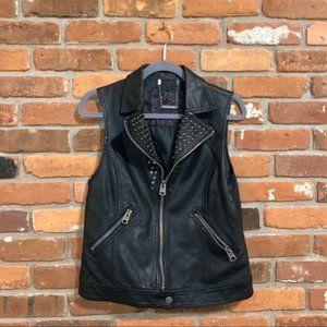 Buffalo Studded Faux Leather Black Moto Vest L